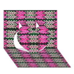 Pattern Tile Pink Green White Heart 3D Greeting Card (7x5)