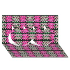 Pattern Tile Pink Green White Twin Hearts 3D Greeting Card (8x4)