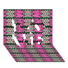 Pattern Tile Pink Green White LOVE 3D Greeting Card (7x5)