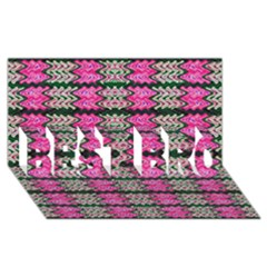 Pattern Tile Pink Green White BEST BRO 3D Greeting Card (8x4)