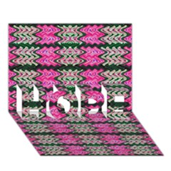 Pattern Tile Pink Green White HOPE 3D Greeting Card (7x5)