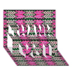 Pattern Tile Pink Green White THANK YOU 3D Greeting Card (7x5)