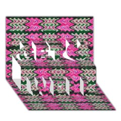 Pattern Tile Pink Green White Get Well 3D Greeting Card (7x5)