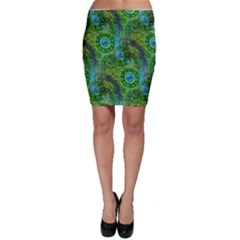 Emerald Boho Abstract Bodycon Skirt