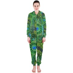 Emerald Boho Abstract Hooded Jumpsuit (Ladies)