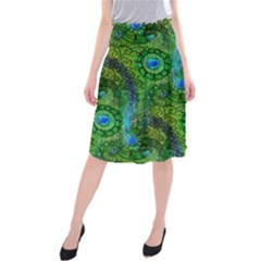 Emerald Boho Abstract Midi Beach Skirt