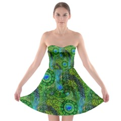 Emerald Boho Abstract Strapless Dresses