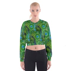 Emerald Boho Abstract Women s Cropped Sweatshirt