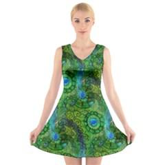 Emerald Boho Abstract V-Neck Sleeveless Skater Dress