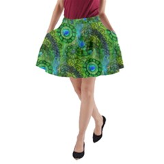 Emerald Boho Abstract A-Line Pocket Skirt