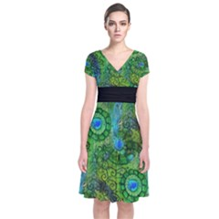 Emerald Boho Abstract Short Sleeve Front Wrap Dress
