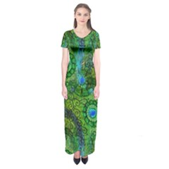 Emerald Boho Abstract Short Sleeve Maxi Dress