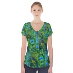 Emerald Boho Abstract Short Sleeve Front Detail Top