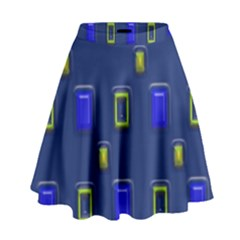 3d Rectangles                                                                        High Waist Skirt