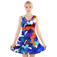 Classic New York Cty13 V-Neck Sleeveless Skater Dress