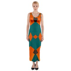 Rhombus And Other Shapes                                                                      Fitted Maxi Dress