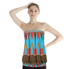 Blue Brown Chevrons        Strapless Top