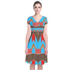 Blue Brown Chevrons                                      Short Sleeve Front Wrap Dress