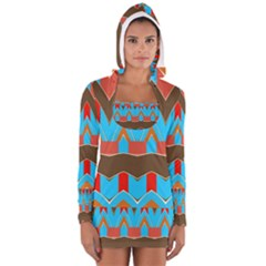 Blue brown chevrons                                                                       Women s Long Sleeve Hooded T-shirt