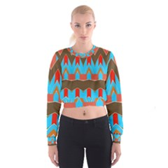 Blue Brown Chevrons                                                                         Women s Cropped Sweatshirt