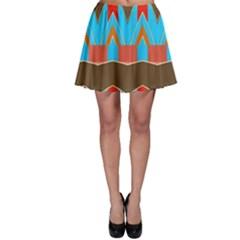 Blue brown chevrons                                                                       Skater Skirt