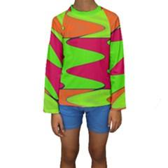 Wavy design                                                                         Kid s Long Sleeve Swimwear