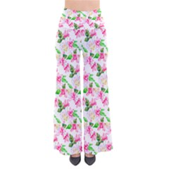 Orchid and Rose Pattern Palazzo Pants Women s Chic Palazzo Pants