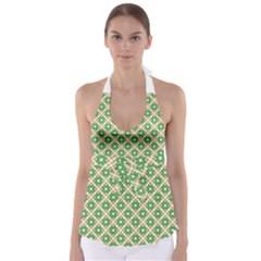 Crisscross Pastel Green Beige Babydoll Tankini Top