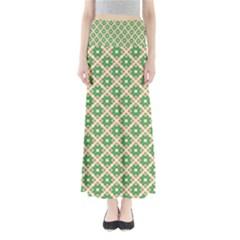 Crisscross Pastel Green Beige Maxi Skirts