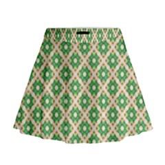 Crisscross Pastel Green Beige Mini Flare Skirt