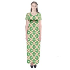 Crisscross Pastel Green Beige Short Sleeve Maxi Dress