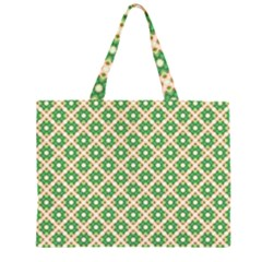 Crisscross Pastel Green Beige Large Tote Bag