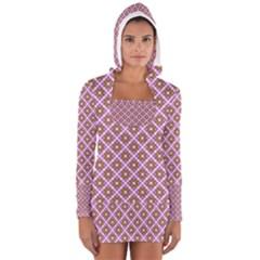Crisscross Pastel Pink Yellow Women s Long Sleeve Hooded T Shirt