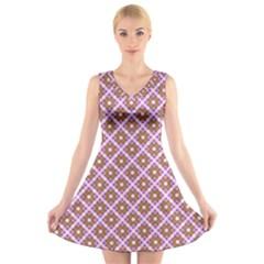 Crisscross Pastel Pink Yellow V Neck Sleeveless Skater Dress
