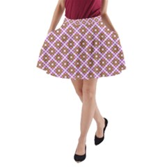 Crisscross Pastel Pink Yellow A-Line Pocket Skirt