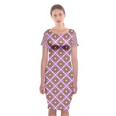 Crisscross Pastel Pink Yellow Classic Short Sleeve Midi Dress