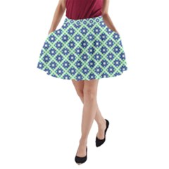 Crisscross Pastel Turquoise Blue A Line Pocket Skirt
