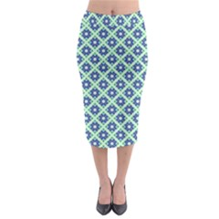 Crisscross Pastel Turquoise Blue Midi Pencil Skirt