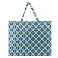 Crisscross Pastel Turquoise Blue Zipper Large Tote Bag