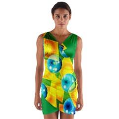 Colors Of Brazil Wrap Front Bodycon Dress