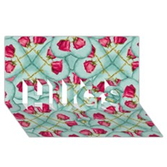 Love Motif Pattern Print Hugs 3d Greeting Card (8x4)