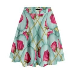 Love Motif Pattern Print High Waist Skirt