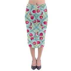 Love Motif Pattern Print Midi Pencil Skirt