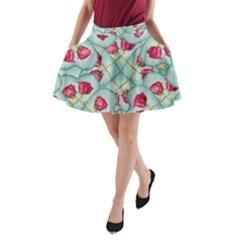 Love Motif Pattern Print A-Line Pocket Skirt
