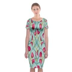 Love Motif Pattern Print Classic Short Sleeve Midi Dress