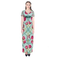 Love Motif Pattern Print Short Sleeve Maxi Dress