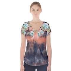 Tie Dye1l Short Sleeve Front Detail Top
