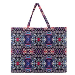 Zodiac Code Zipper Large Tote Bag