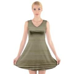 Wooden Waves V Neck Sleeveless Skater Dress