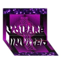 Purple Celtic Cross YOU ARE INVITED 3D Greeting Card (7x5)